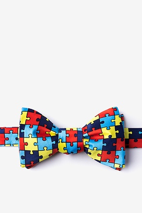 Autism Awareness Puzzle Multicolor Self-Tie Bow Tie