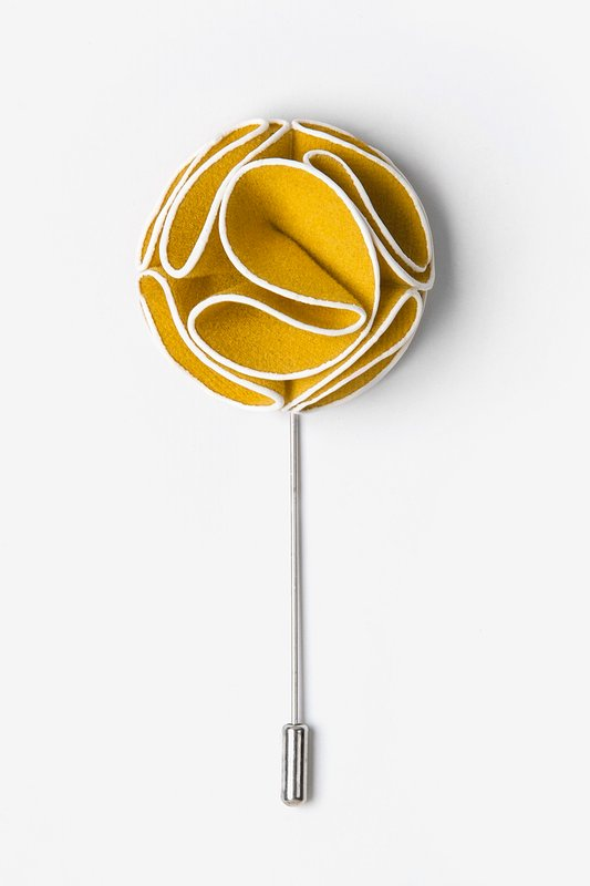 Mustard Piped Flower Lapel Pin Photo (0)