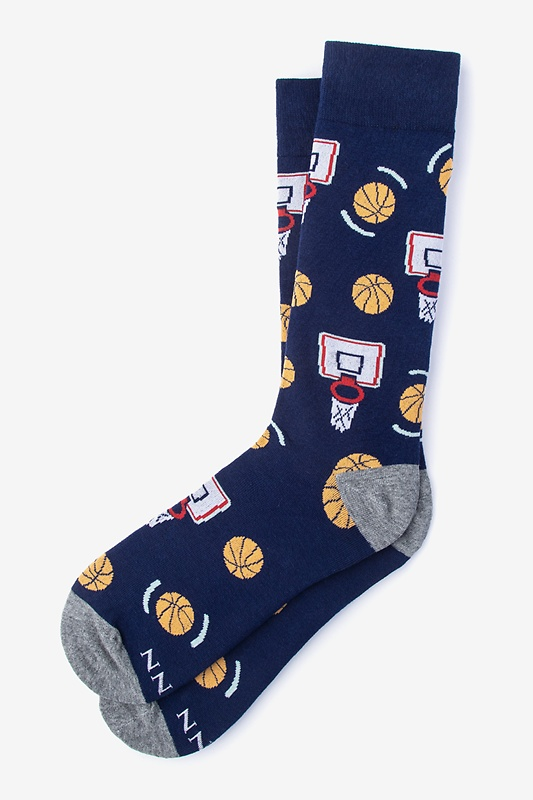 Basketball Nothing But Net Navy Blue Sock Photo (0)