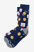 Navy Blue Carded Cotton Basketball Nothing But Net Women's Sock