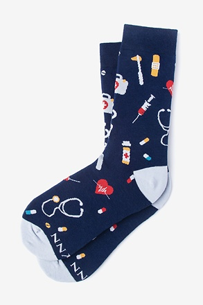 _Doctor Medical Navy Blue Women's Sock_