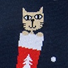 Navy Blue Carded Cotton Meowy Christmas Sock