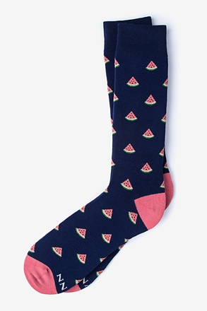 Watermelon Navy Blue Sock