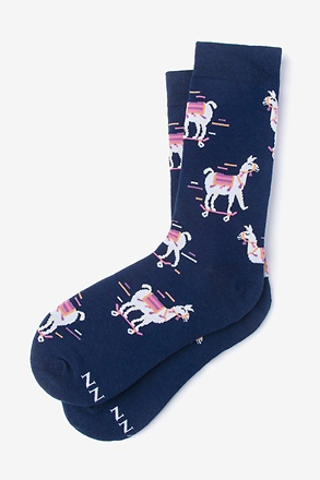 _Skateboarding Llama Navy Blue Women's Sock_