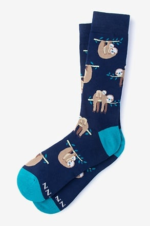 Sloth Navy Blue Sock