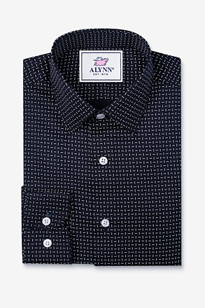 Finn Navy Blue Slim Fit Untuckable Dress Shirt