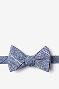 Navy Blue Cotton Globe Self-Tie Bow Tie