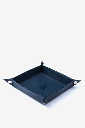 Large Flat-Pack Leather Navy Blue Valet Tray