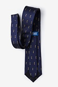 Antique Keys Navy Blue Extra Long Tie Photo (2)