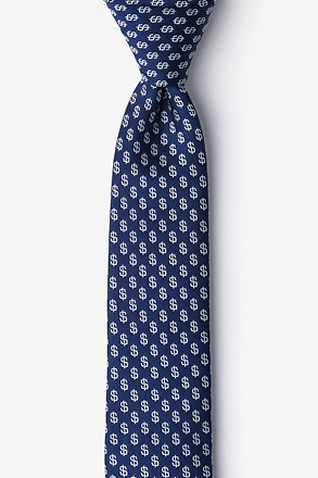 Dollar Signs Navy Blue Skinny Tie