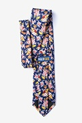 Fast Food Floral Navy Blue Extra Long Tie Photo (1)