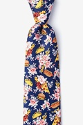 Fast Food Floral Navy Blue Extra Long Tie Photo (0)