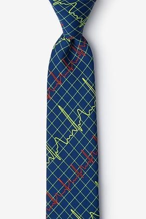 _Heart Beats Navy Blue Skinny Tie_