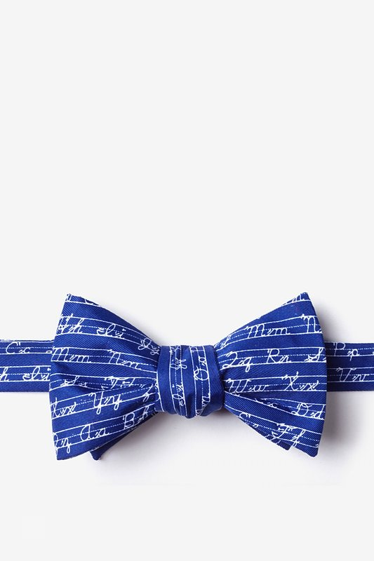 Learning Cursive Navy Blue Self-Tie Bow Tie Photo (0)
