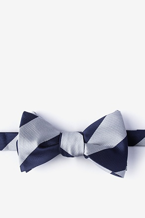 Navy & Off White Stripe Navy Blue Self-Tie Bow Tie