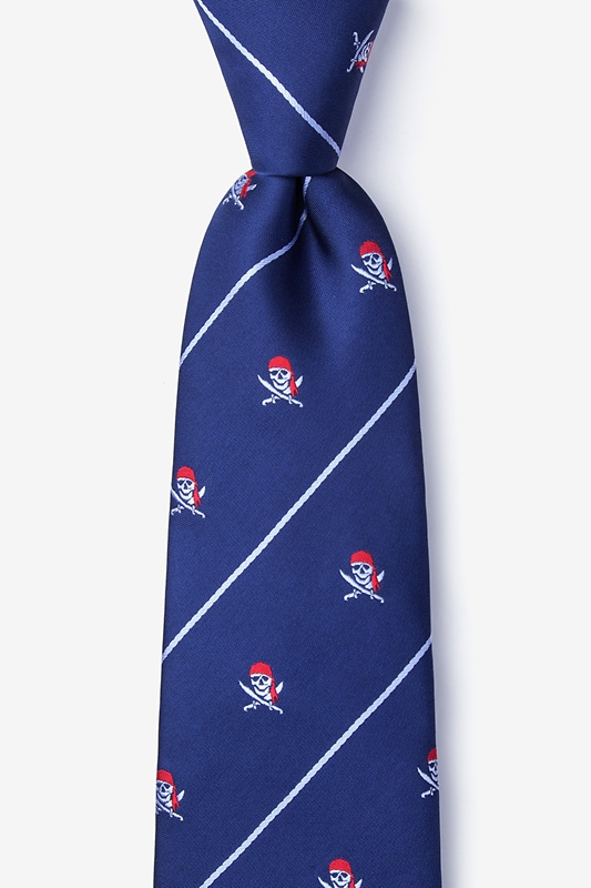 Pirate Skull and Swords Navy Blue Tie Photo (0)