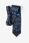 Ugly Christmas Sweater Navy Blue Extra Long Tie Photo (1)