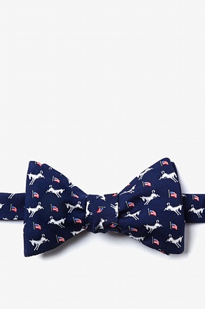 Democratic Donkeys Navy Blue Self-Tie Bow Tie