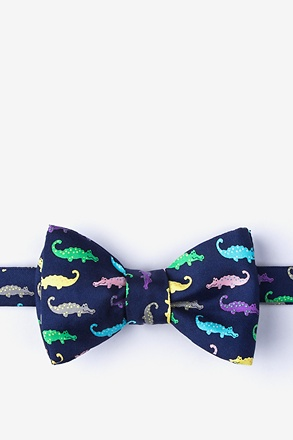Later Gator Navy Blue Self-Tie Bow Tie