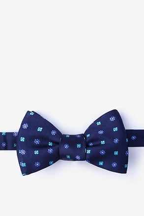 Monkey Navy Blue Self-Tie Bow Tie