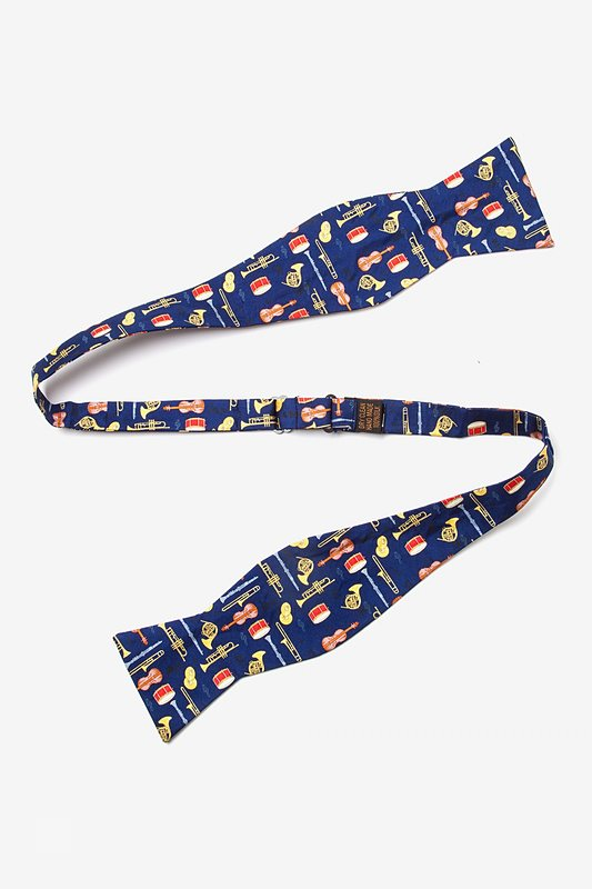 Musical Instruments Navy Blue Self-Tie Bow Tie Photo (1)