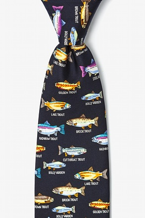Trout Family Navy Blue Tie