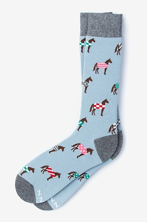 Derby Horse Pale Blue Sock