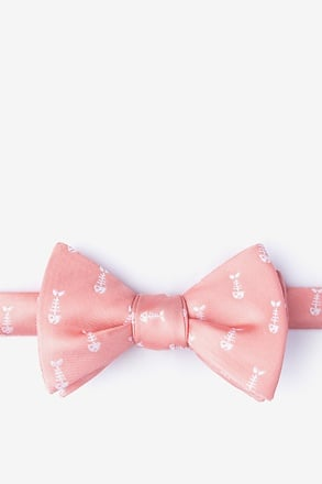 Fish Bones Peach Self-Tie Bow Tie