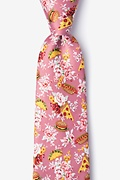 Pink Microfiber Fast Food Floral Extra Long Tie