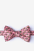 One Horse Race Pink Self-Tie Bow Tie
