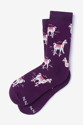 _Skateboarding Llama Purple Women's Sock_