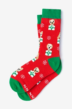 _Santa's Li'l Yelpers Red Women's Sock_