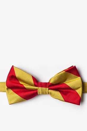 _Red & Gold Stripe Pre-Tied Bow Tie_