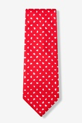 Red Microfiber Tossed Hearts Extra Long Tie
