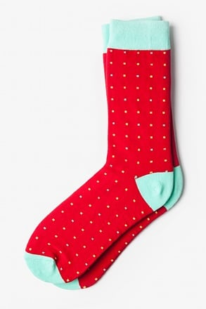 Long Beach Dots Red Orange Sock
