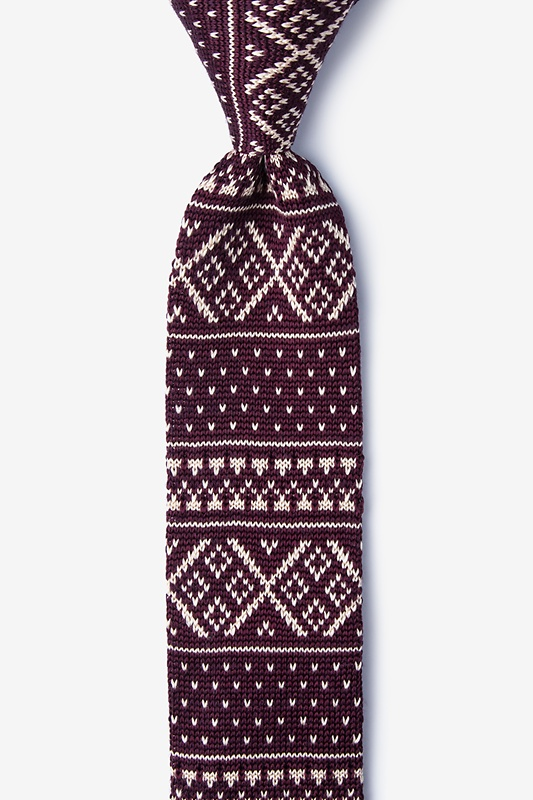Fair Isle Red Knit Skinny Tie Photo (0)