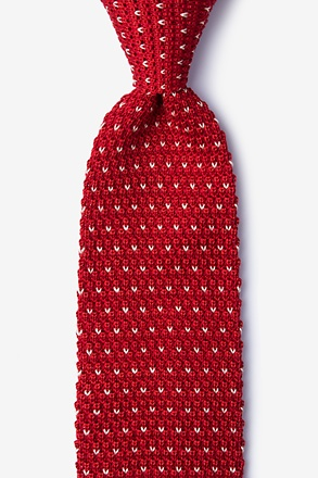 Laos Red Knit Tie