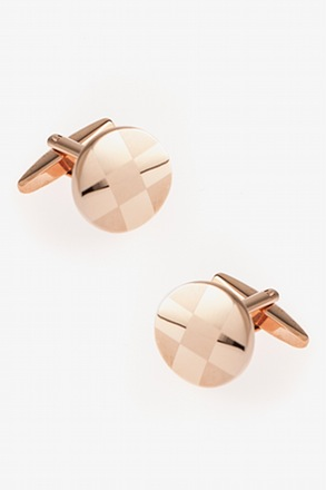 "_""Round Monochrome Check"" Rose Gold Cufflinks_"