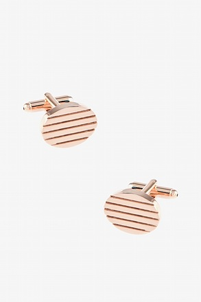 _Horizontal Grooves Rose Gold Cufflinks_