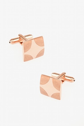 _Matte Rounded Edges Rose Gold Cufflinks_