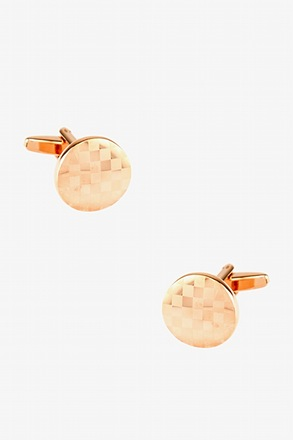 _Monochrome Check Round Rose Gold Cufflinks_