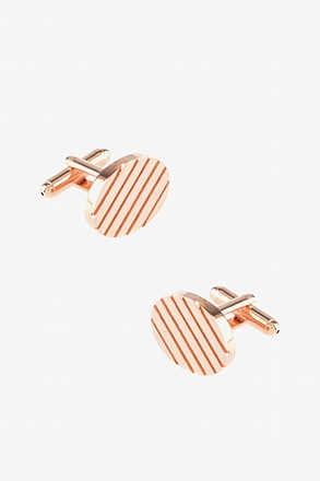 _Oval Grooves Rose Gold Cufflinks_