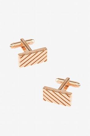 _Rectangle Grooves Rose Gold Cufflinks_