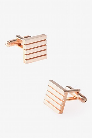 _Solid Striped Square Rose Gold Cufflinks_