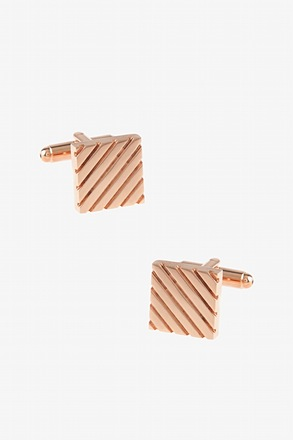 _Square Grooves Rose Gold Cufflinks_