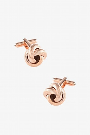 _Textured Knot Rose Gold Cufflinks_
