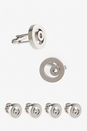 Curly Circle Silver Cufflink & Stud Set