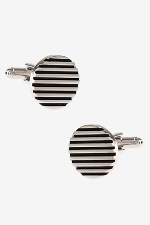 Round Solid Striped Silver Cufflinks