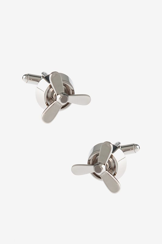 Simple Propellor Silver Cufflinks Photo (0)