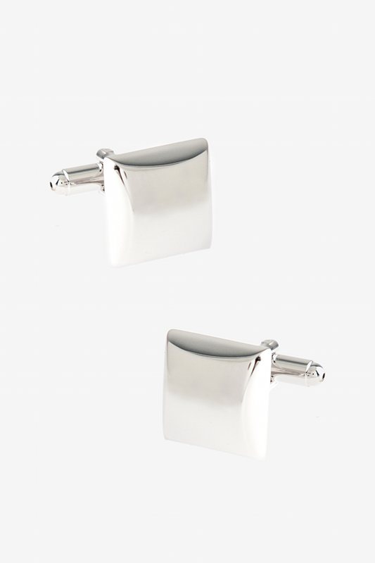 Solid Thick Square Silver Cufflinks